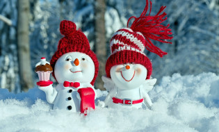 снег, фигурки, снеговики