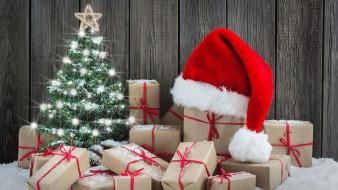 коробки, подарки, огоньки, колпак, много, елка