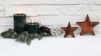 праздничные, новогодние свечи, огоньки, шишки, свечи, звезды
