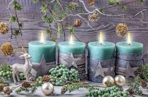 праздничные, новогодние свечи, шарики, свечи, огоньки