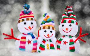 трио, снеговики