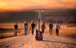 музыка, -музыкальные инструменты, гитара, дорога