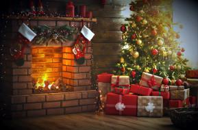 подарки, камин, елка
