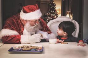 праздничные, дед мороз,  санта клаус, печенье, новый, год, молоко, угощение, рождество, мальчик, санта, клаус