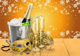 маска, узоры, бокалы, мишура, шампанское, Новый год, лед