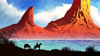 векторная графика, природа , nature, горы, озеро