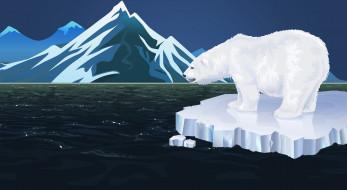 Море, Медведь, Белый, Горы, Фон, Полярный медведь, Белый Медведь, Льдина, Минимализм