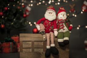 боке, санта клаус, рождество, ёлка, праздник, снеговик, новый год, игрушки, ящик