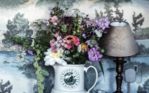 цветы, букеты,  композиции, лампа, букет, композиция