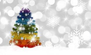 праздничные, векторная графика , новый год, украшения, снежинки, цветная, боке, елка, новый, год, зима