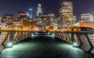 мост, вечер, огни