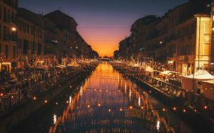 города, милан , италия, вечер, набережная, канал, иллюминация, огни