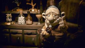 мультфильмы, mary and max, бутылка, взгляд, чучело, мужчина