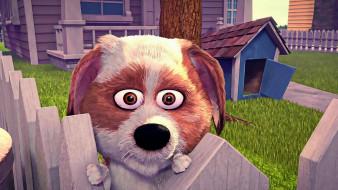 мультфильмы, ozzy, взгляд, будка, собака