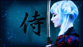 фон, девушка, меч, рисунок, оружие, самурай, катана, воин, иероглифы, блондинка, арт, макияж, прическа