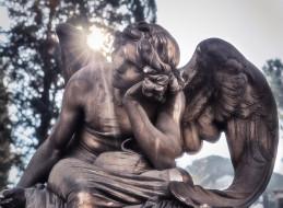 солнце, ангел, скульптура, мрамор