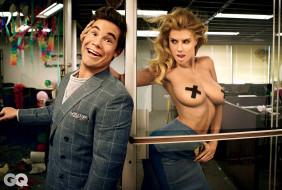 дверь, модель, улыбка, пиджак, грудь, парень, Charlotte McKinney, блондинка