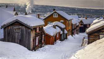 зима, Норвегия, деревня
