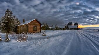 зима, снег, дом