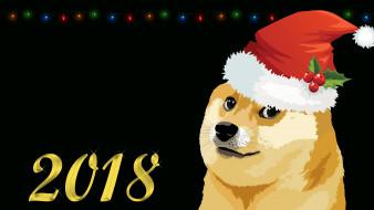 праздничные, векторная графика , новый год, doge, мем, собака, арт, memes, 2018, dog, минимализм, новый, год