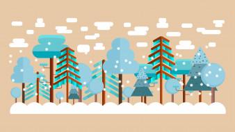 лес, облака
