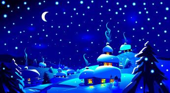 векторная графика, город , city, снежинки, снеговик, огни, ночь, лес, вектор, снег, дома, деревья, синева, деревня, луна, месяц, небо, сугробы, зима