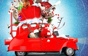 праздничные, дед мороз,  санта клаус, автомобиль, новый, год, санта-клаус, игрушки, снежинки, снег, дед, мороз, подарки, праздник, фон, плюшевые, леденцы, олени, красный, креатив, колокольчики, фотошоп, мешок, рождество