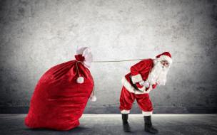 праздничные, дед мороз,  санта клаус, дед, мороз, большой, рождество, перчатки, верёвка, шуба, мешок, красный, штаны, сапоги, тащит, шапка, новый, год, борода, праздник, санта-клаус, подарки, стена