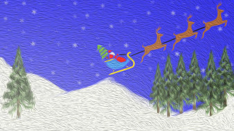 праздничные, векторная графика , новый год, снег, лес, горы