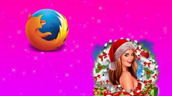 компьютеры, mozilla firefox, взгляд, девушка, логотип, фон