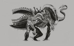 рисованное, кино, Чужой, монстр, существо