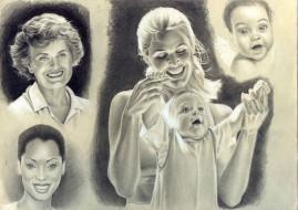 рисованное, люди, улыбка, взгляд, фон, дети, девушки