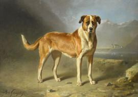 рисованное, животные,  собаки, сенбернар, бернард, те, гемпт, масло, картина, собака