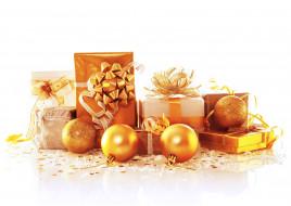 шары, бант, золотой, Рождество, новый год, подарки