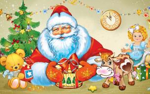 кукла, украшения, гирлянда, дед мороз, елка, мишка, корова, праздник, часы