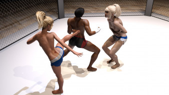 эро-графика, 3d спорт, борьба, ринг, грудь, фон, взгляд, девушки