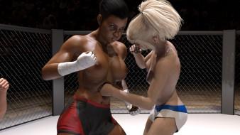 эро-графика, 3d спорт, борьба, ринг, фон, грудь, взгляд, девушки