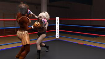 ринг, бокс, девушки, взгляд, фон