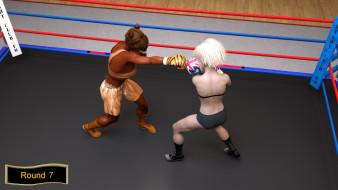 девушки, ринг, бокс, взгляд, фон