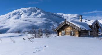 зима, дом, снег, Норвегия, горы