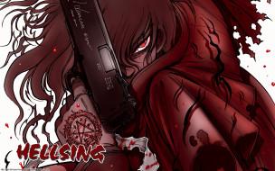 обои для рабочего стола 1920x1200 аниме, hellsing, пистолет, взгляд, дракула, вампир, кровь, оружие, alucard, dracula, vampire, алукард