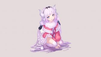 аниме, miss kobayashi`s dragon maid, девушка, фон, взгляд
