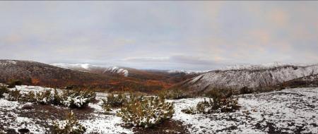 вид, горы, долина, Колыма, пейзаж, снег