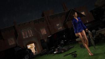 дом, девушка, фон, оружие