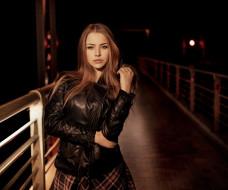 мост, alexandra danilova, model, brunette, looking at viewer, брюнетки, leather jackets, куртка, women, ночь