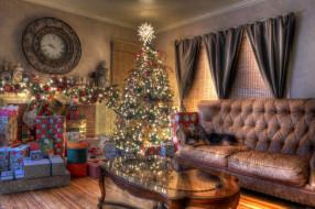 обои для рабочего стола 2600x1732 праздничные, Ёлки, собака, гостиная, елка, новый, год, диван, праздник, подарки, гирлянда, часы, рождество