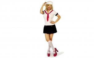 костюм, улыбка, форма, юбка, гольфы, блондинка