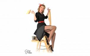 платье, пин-ап, блондинка, бант чулки, банка, щетка, краска, каблуки, лестница