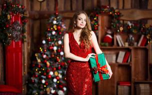 локоны, серьги, подарок, елка, платье, девушка, шатенка