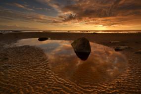 песок, пляж, вода, камни, Вид, вечер, пейзаж, небо